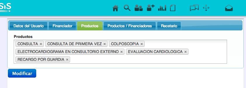 Configuración de productos del profesional