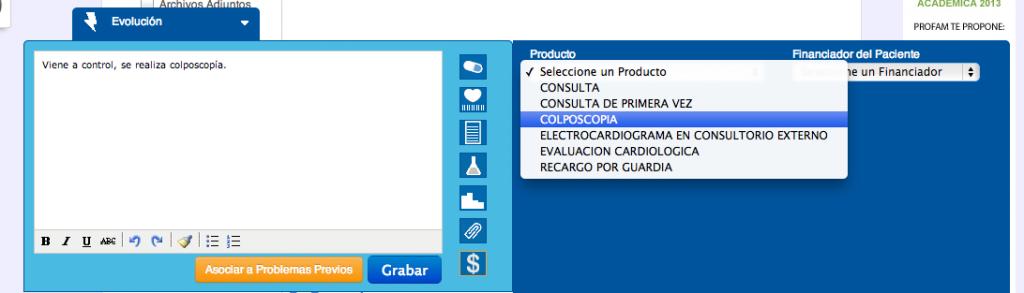 Registro de un producto durante la consulta, utilizando el icono de Financiador ($)